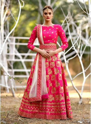 Pink Mirrorwork Zari Silk Soft Net Legenga Choli