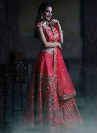 Dark Pink Color Silk Base Elegent Designer Heavy Embroidred Lehenga Choli
