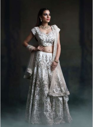 Stylish Off White Color Satin Base Embroidred Designer Lehenga Choli