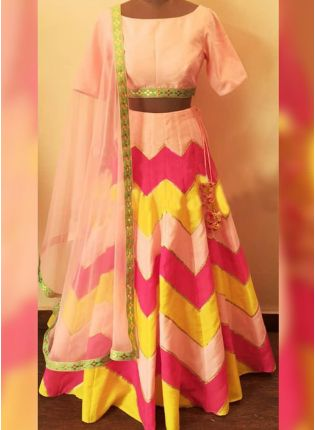 Peach Digital Print Raw Silk Casual Flared Lehenga Choli