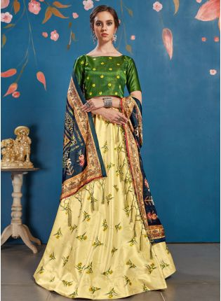Modish Light Yellow Art Silk Digital Printed Trendy Lehenga Choli