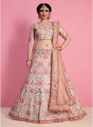 Peach Heavily Embelished Lehenga Choli