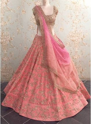 Peach Zari Sequin Raw Silk Bridal Panelled Lehenga Choli