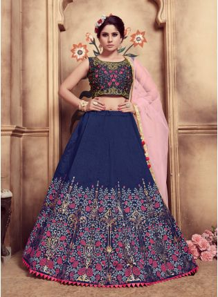 Blue Foil Print Pearl And Soft Net Silk Lehenga Choli