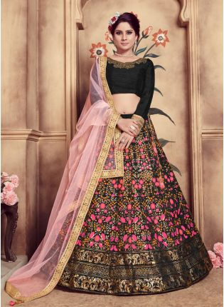 Black Sequins Hand Work And Soft Net Silk Lehenga Choli