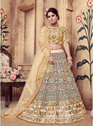 Beige Foil Print And Soft Net Silk Lehenga Choli