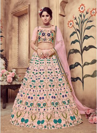 Pink Zari Sequins And Soft Net Silk Lehenga Choli
