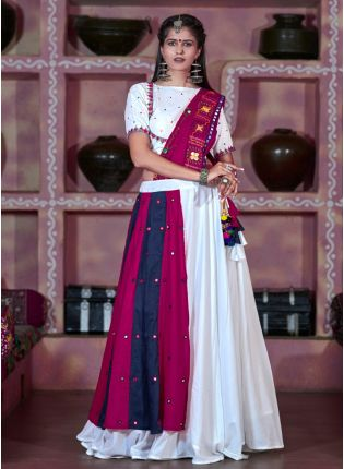 White Color Designer Mirror Work Navratri Lehenga Choli