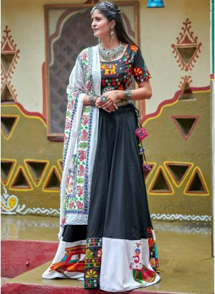 Traditional Black Color Designer Navratri Special Lehenga Choli