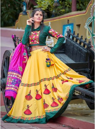 Treditional Look Dark Green And Yellow Color Cotton Base Lehenga Choli