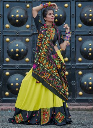 Traditional Black And Neon Green Color Cotton Base Lehenga Choli