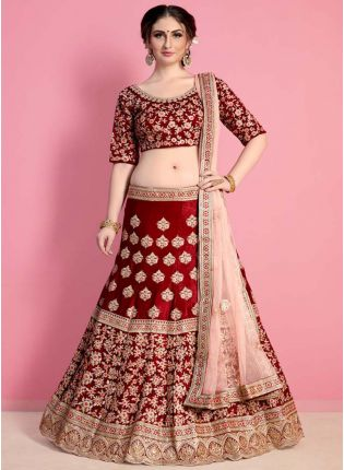 Heavy Embroidered Maroon Bridal Lehenga Choli Set