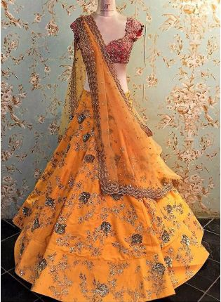 Mustard Yellow Zari Dori Raw Silk Panelled Lehenga Choli