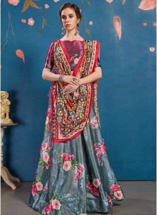 Remarkable Dark Grey Art Silk Digital Printed Designer Lehenga Choli