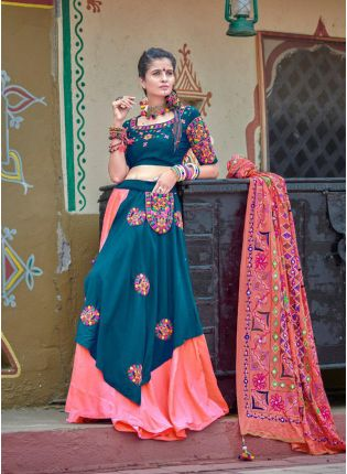 Blue And Pink Color Cotton Base Traditional Lehenga Choli