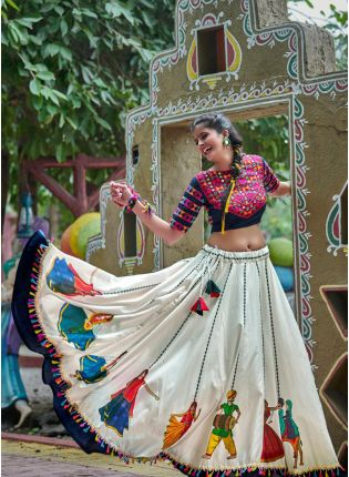 Navy Blue And Off White Color Traditional Lehenga Choli