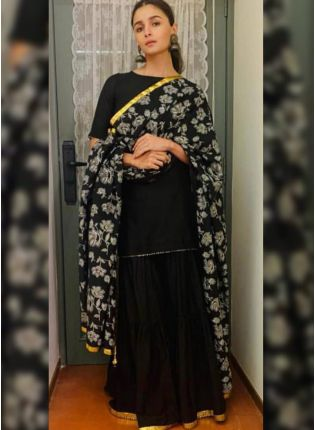 Black Digital Print Crepe Casual Sharara Suit