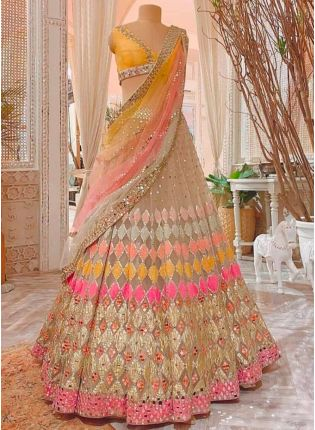 Extraordinary Beige Resham Foil Mirror Soft Net Lehenga Choli Set