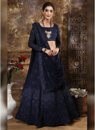 Fascinating Navy Blue Georgette Wedding Special Trendy Lehenga Choli
