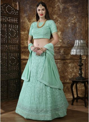 Incredible Teal Green Georgette Base Trendy Bridesmaid Lehenga Choli