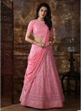 Modish Baby Pink Georgette Designer Sequin Work Wedding Lehenga Choli