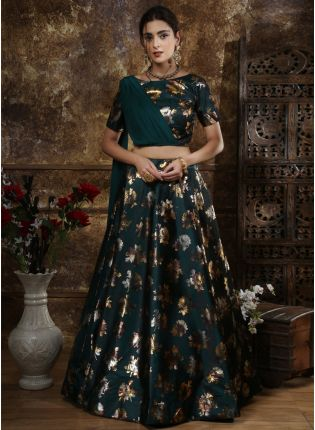 Green Foil Print And Tafetta Silk Georgette Lehenga Choli