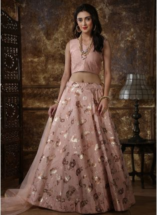 Peach Foil Print Soft Net Silk Lehenga Choli