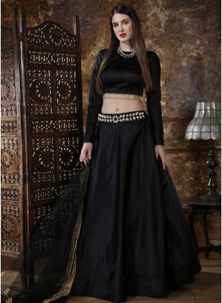 Black Tassels Lace Tafetta Silk Soft Net Lehenga Choli