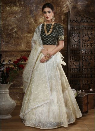 Off-White Zari Resham Sequins Organza Silk Lehenga Choli