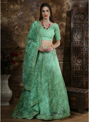 Green Resham Zari And Organza Silk Lehenga Choli