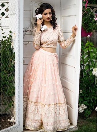 Baby Pink Resham And Georgette Bridal Panelled Lehenga Choli