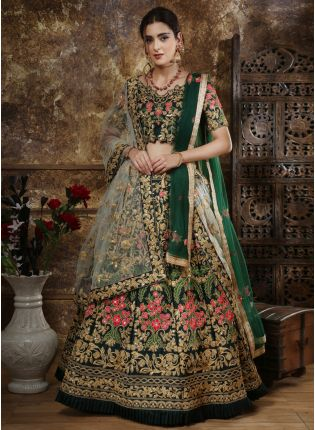 Green Sequins Dori Tafetta Silk Soft Net Lehenga Choli