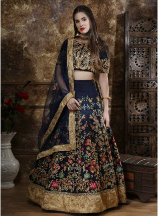 Blue Sequins Resham And Zari Silk Soft Net Lehenga Choli