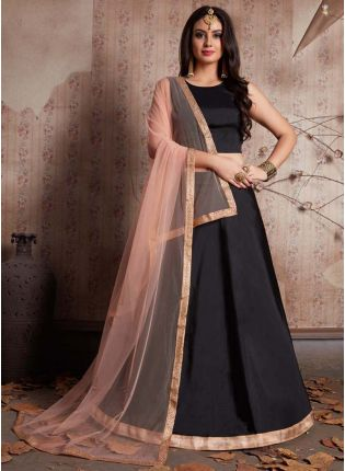 Black Fully Flared Lehenga Choli And Dupatta Set