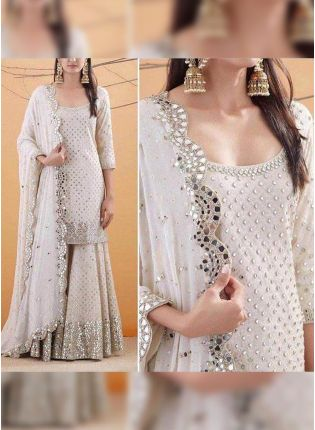 White Sequin Georgette Palazzo Salwar Suit For Wedding