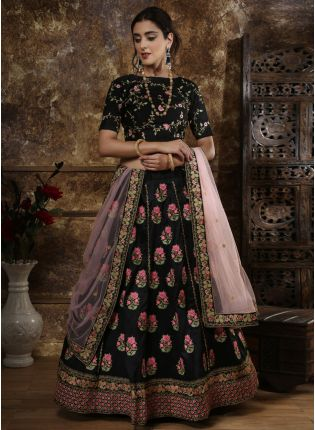 Black Resham Zari Silk Soft Net Lehenga Choli