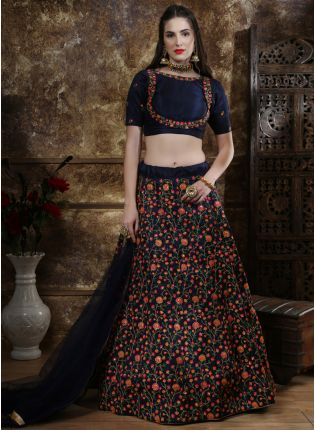 Blue Sequins Zari Silk And Soft Net Lehenga Choli