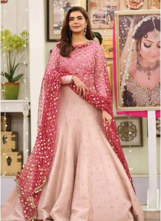 Peach Zari And Tafetta Silk Floor Length Salwar Suit