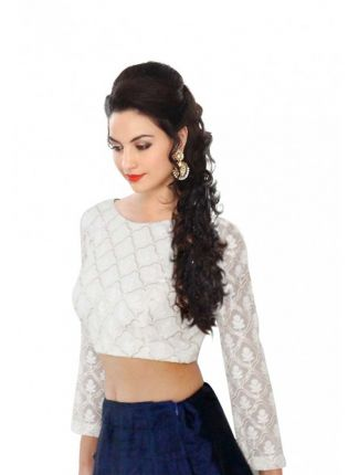 White Georgette Cotton Thread & Sequins Chain Blouse