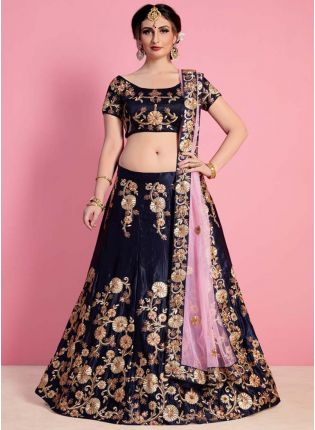 Navy Blue Velvet Embroidered Lehenga Choli Set