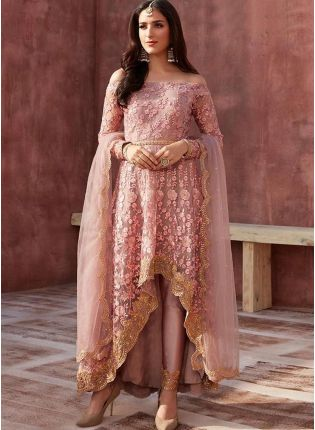 Peach Zari Soft Net Pant Style Pakistani Suit For Reception