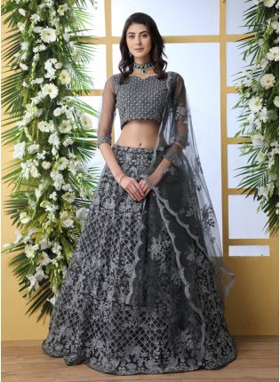 Wonderful Dark Grey Soft Net Base Flared Sequin Work Lehenga Choli