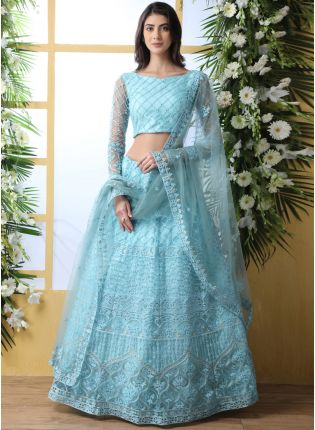 Glamorous Sky Bue Soft Net Base Resham And Stone Work Lehenga Choli