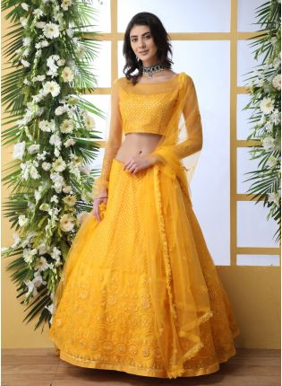 Unbeatable Turmeric Yellow Soft Net Haldi Special Trendy Lehenga Choli