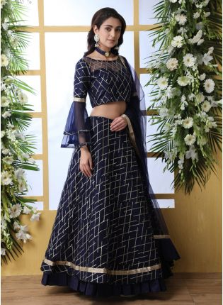 Mesmerizing Navy Blue Soft Net Bridesmaid Sangeet Lehenga Choli