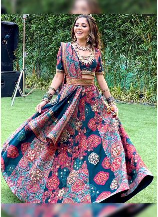 Multi Color Digital Print Satin Panelled Bollywood Lehenga Choli