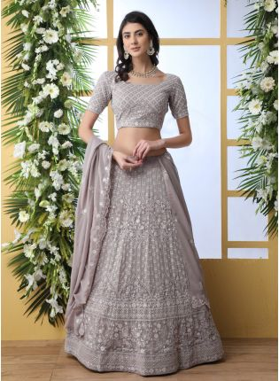 Grey Sequins Resham And Georgette Lehenga Choli