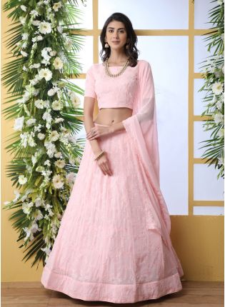 Pink Sequins Resham And Georgette Lehenga Choli