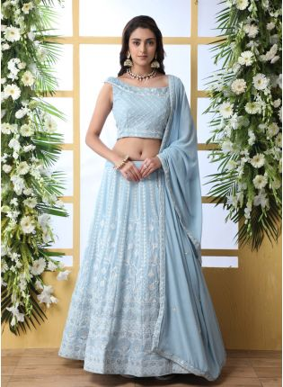 Blue Sequins Resham And Georgette Lehenga Choli