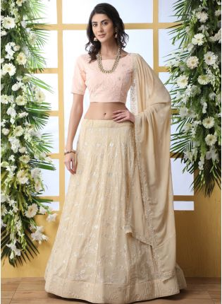 Beige Sequins Resham And Georgette Lehenga Choli